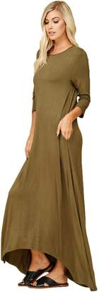 Annabelle Women's 3/4 Sleeve Casual Loose Fit Maxi Dresses with Side Pockets-Large D5212X