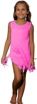 Ingear Solid Color Fringe Dress Cute Playwear Summer Beachwear Cover Up