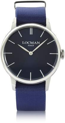 Locman 1960 Stainless Steel Men's Watch W/blue Canvas Strap