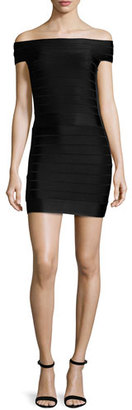 French Connection Spotlight Star Off-the-Shoulder Bandage Dress, Black $198 thestylecure.com