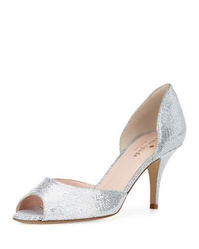 Kate Spade New York Sage Glitter D'orsay Pump, Silver