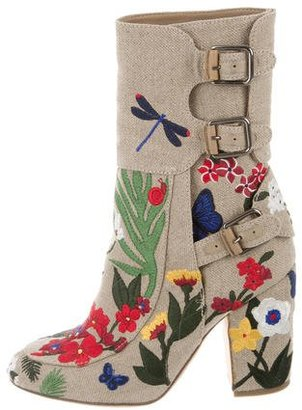 Laurence Dacade Merli Floral-Embroidered Ankle Boots $350 thestylecure.com