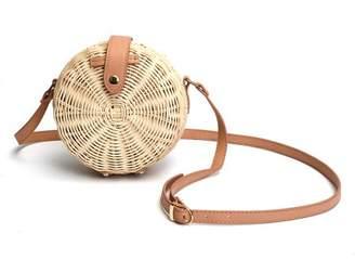 Kadell Grtxinshu Fashion Women Vintage Beach Straw Bag Ladies Handmade Woven Rattan Messenger Handbag Summer Bali Bohemian Crossbody Bamboo Shoulder Tote Bag Gifts