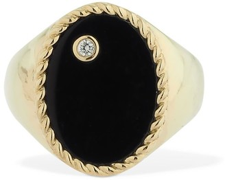 Ovale Yvonne Leon Paris 9kt Chevaliere Onyx Ring