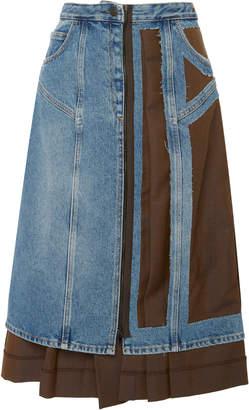 Maison Margiela Hybrid Denim And Wool-Mohair Midi Skirt