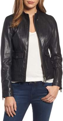 LAMARQUE Patch Pocket Leather Biker Jacket