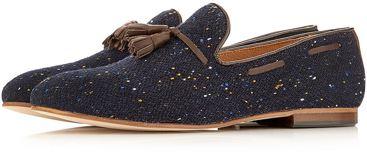 Topman House of Hounds Navy Slip On Loafers