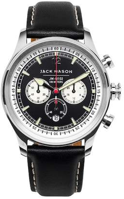 JACK MASON Men's Nautical Chrono Leather Strap Watch, 42mm