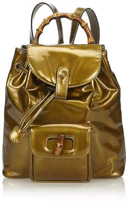 Gucci Vintage Bamboo Patent Leather Backpack
