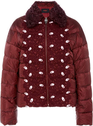 Giambattista Valli Floral Appliqué Lace Puffer Jacket