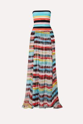 Caroline Constas Marianna Strapless Striped Silk-chiffon And Stretch-jersey Maxi Dress - Blue