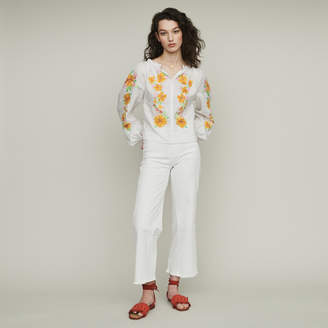 Maje Linen embroidered blouse