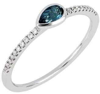 Bony Levy 18K White Gold Diamond & London Blue Topaz Stack Ring