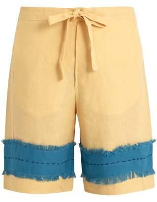 Hecho - Frayed Panel Drawstring Waist Linen Shorts - Mens - Yellow