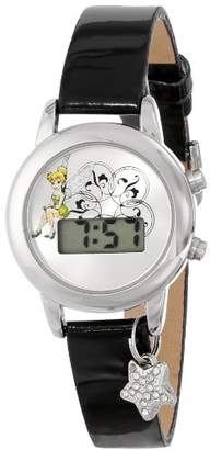 Disney Women's TK1029 Tinkerbell Dial Black Strap with Charm Watch