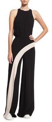 Alexis Deanne Sleeveless Contrast-Stripe Wide-Leg Jumpsuit, Black $693 thestylecure.com