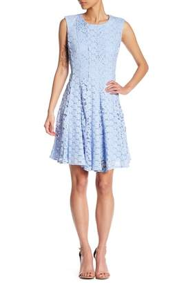 Chetta B Floral Lace Fit & Flare Dress