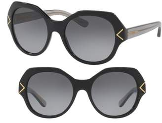 Tory Burch 53mm Polarized Gradient Geometric Sunglasses