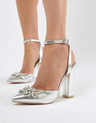 True Decadence Silver Embellished Block Heel Shoes