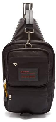 Givenchy Ut3 Leather Trimmed Nylon Single Strap Backpack - Mens - Black