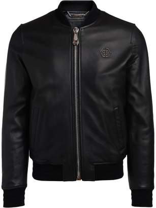 Philipp Plein Homme Black Leather Bomber Jacket