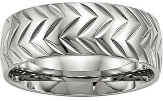 Primal Steel Primal Steel Stainless Steel Polished Diamond Cut Ring