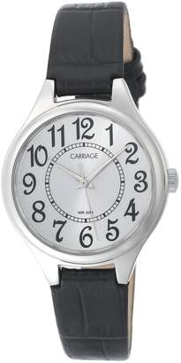 Timex Carriage Women's C3C391 Silver-Tone Round Case Silver-Tone Dial Croco Leather Strap Watch