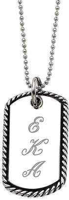 "Steel By Design Stainless Steel Oxidized Engravable Pendant and24"" Chain"