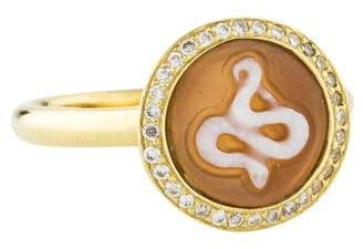Ippolita 18K Diamond Snake Cameo Ring