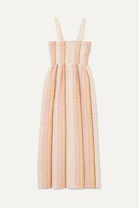 Madewell Shirred Striped Cotton-blend Midi Dress - Beige