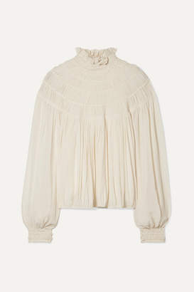Chloé Ruffled Pleated Silk-crepe Blouse - Cream