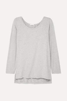 Skin - Lena Mélange Stretch-jersey Pajama Top - Light gray