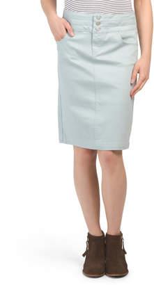 Hi Waist Triple Button Denim Skirt