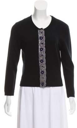 Behnaz Sarafpour Bead-Embellished Cashmere Lightweight Cardigan