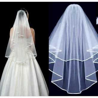Kizaen Bridal Veils Two Layer Ribbon Edge Wedding Veil with Comb Bridal Accessories