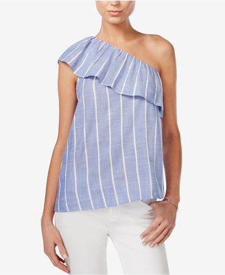 Bar III Cotton One-Shoulder Flounce Top, Only at Macy's $49.50 thestylecure.com
