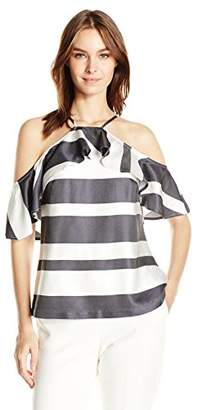 Trina Turk Women's Olan Drapey Stripe Cold Shoulder Top