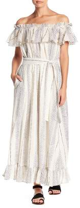 BANJANAN Printed Off-the-Shoulder Maxi Dress