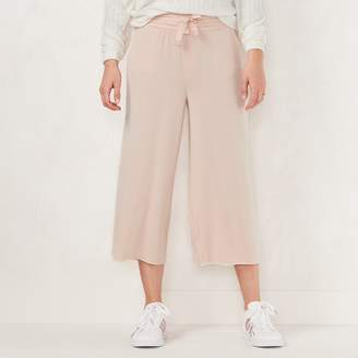 Lauren Conrad Women's Weekend Cropped Wide-Leg French Terry Pants