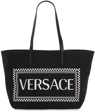 Versace Maxi Logo Printed Coated Canvas Tote Bag