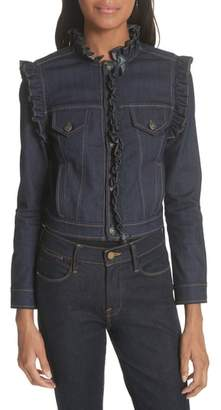 Cinq à Sept Allegra Ruffle Trim Denim Jacket