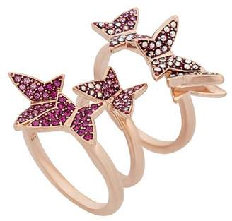 Swarovski Lilia Crystal Butterfly Stack Ring Set - Size 8
