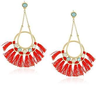 Rebecca Minkoff Utopia Tassel Chandeliers Milky White Stones with Turquoise Tassels Drop Earrings