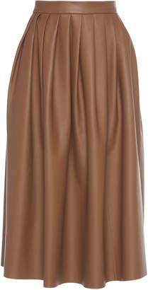 Agnona Soft Nappa Pleated Leather Skirt
