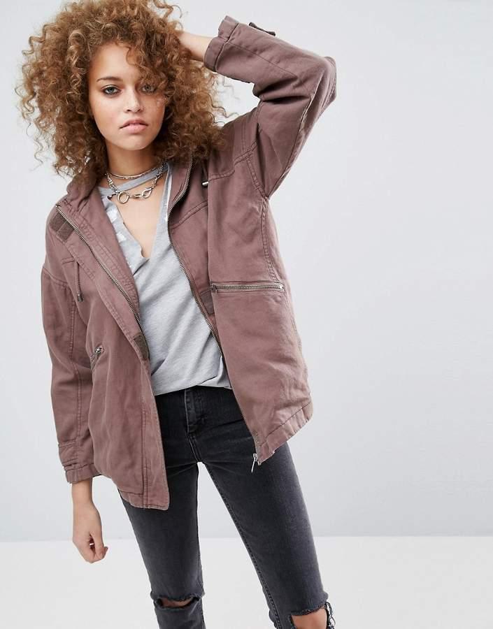 AsosASOS Washed Cotton Jacket with Fleece Hood