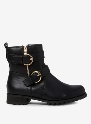 Dorothy Perkins Womens Wide Fit Black 'Alana' Biker Boots