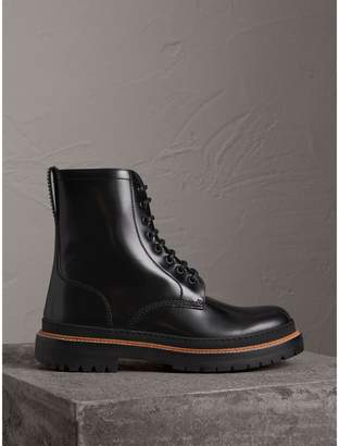 Burberry Lace-up Polished Leather Boots