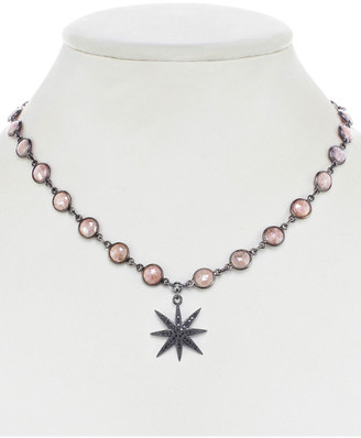 Rachel Reinhardt Gunmetal Plated Pink Quartz & Cz Star Necklace