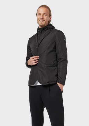Emporio Armani Jacket In Technical Fabric With Inner Bib
