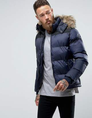 Schott Puffer Jacket Detachable Hood Faux Fur Trim Slim Fit in Navy